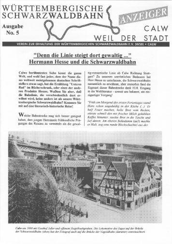 WSB-Anzeiger Nr.5 - Württembergische Schwarzwaldbahn