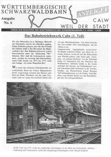 WSB-Anzeiger Nr.6 - Württembergische Schwarzwaldbahn