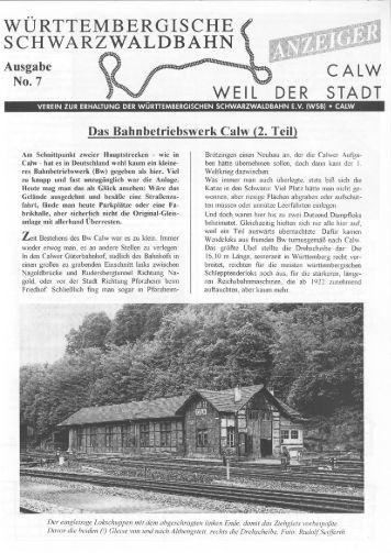 WSB-Anzeiger Nr.7 - Württembergische Schwarzwaldbahn