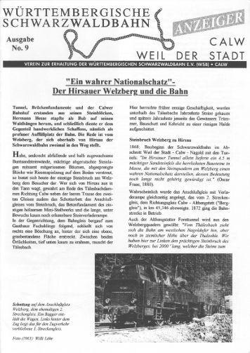 WSB-Anzeiger Nr.9 - Württembergische Schwarzwaldbahn
