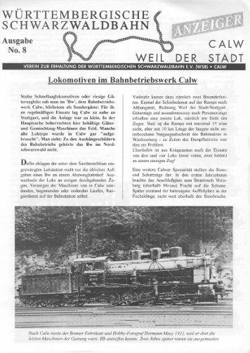 WSB-Anzeiger Nr.8 - Württembergische Schwarzwaldbahn