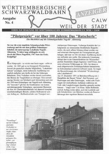 WSB-Anzeiger Nr.4 - Württembergische Schwarzwaldbahn