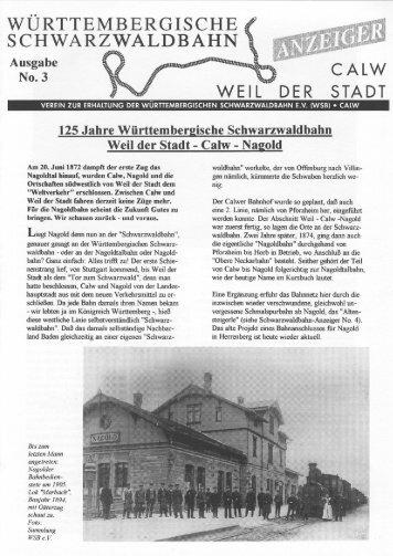 WSB-Anzeiger Nr.3 - Württembergische Schwarzwaldbahn
