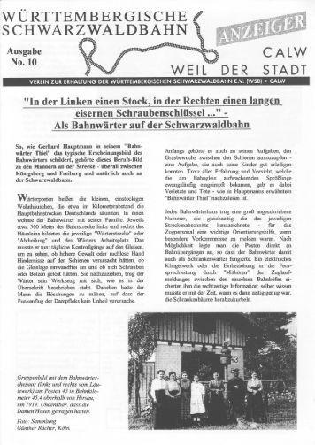 WSB-Anzeiger Nr.10 - Württembergische Schwarzwaldbahn