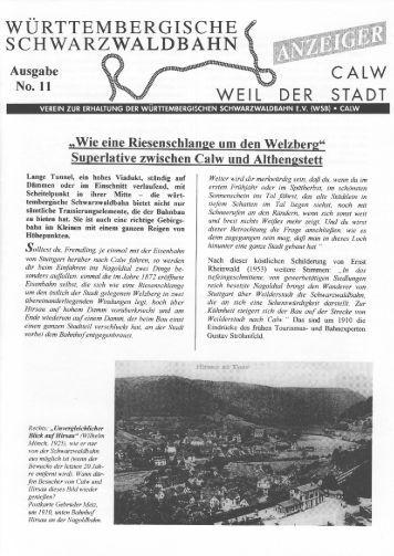 WSB-Anzeiger Nr.11 - Württembergische Schwarzwaldbahn