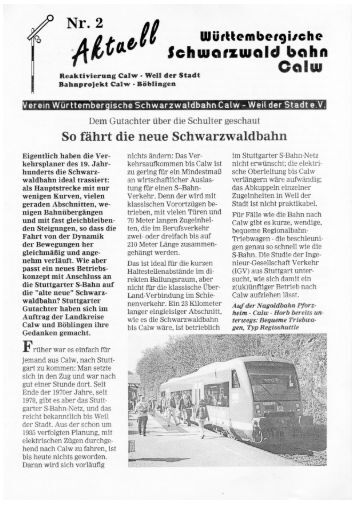 Aktuell No.2 - Württembergische Schwarzwaldbahn