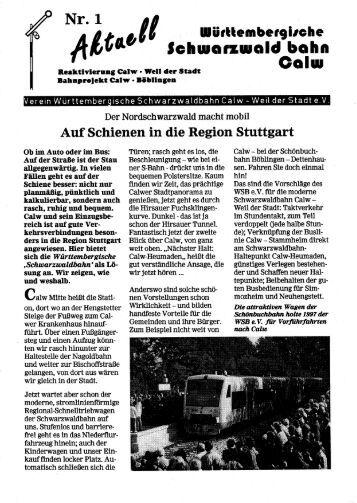 Aktuell No.1 - Württembergische Schwarzwaldbahn