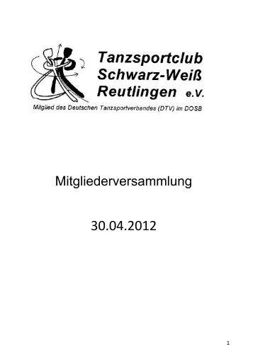 Mitgliederversammlung - Schwarz-Weiß Reutlingen