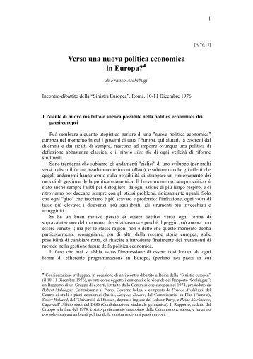 Verso una nuova politica economica in Europa? - Prof. Franco ...