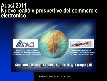 Adaci 2011 Nuove realtà e prospettive del commercio elettronico