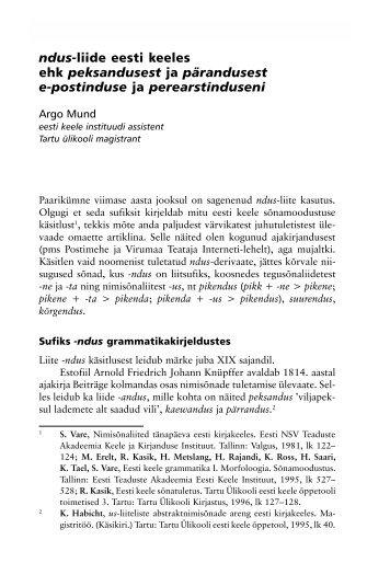 ndus-liide eesti keeles ehk peksandusest ja ... - Emakeele Selts