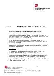 Hinweise der Polizei an Frankfurter Fans - Eintracht Frankfurt