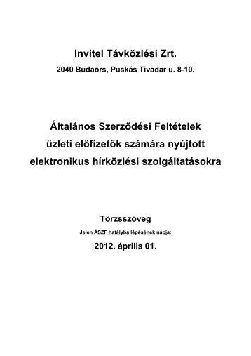 Invitel Távközlési Zrt. Általános Szerződési Feltételek üzleti előfizetők
