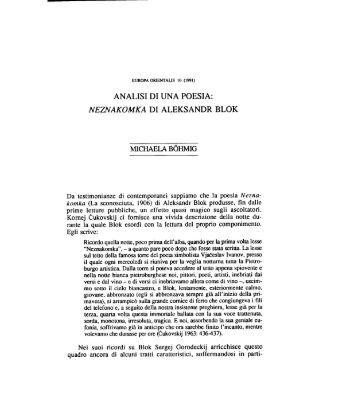analisi di una poesia: neznakomka di aleksandr ... - Europa Orientalis