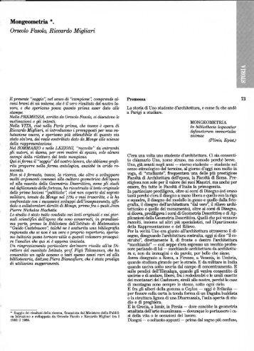Mongeometria *. Orseolo Fasolo, Riccardo Migliari