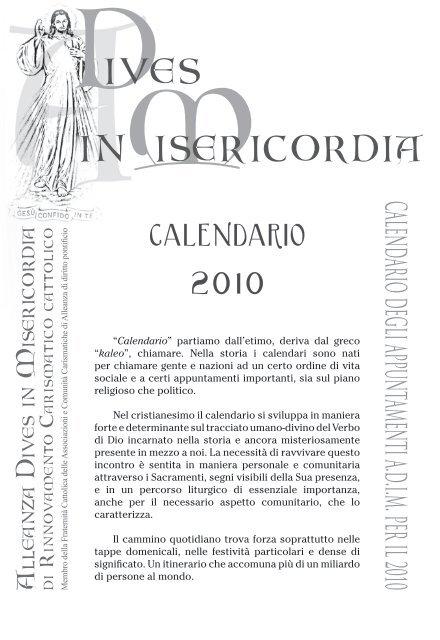 Calendario Greco.Calendario Incontri Coroncina Divina Misericordia