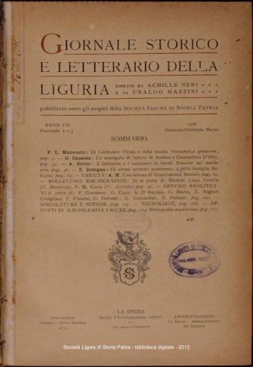 C tIORNALE storico E LETTERARIO DELLA LIGURIA e
