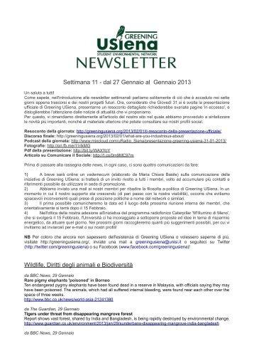 Newsletter 27 Gennaio-2 Febbraio 2013