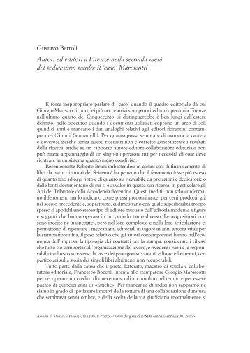Autori ed editori a Firenze nella seconda metà del sedicesimo secolo