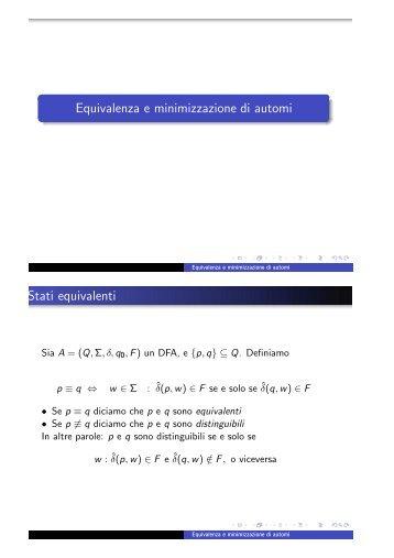 Equivalenza e minimizzazione di automi Stati equivalenti