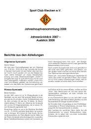 Sport Club Klecken e.V. Jahreshauptversammlung ... - SC Klecken eV