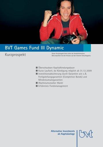 BVT Games Fund III Dynamic Kurzprospekt - Scope