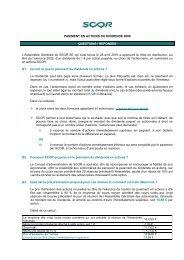 PAIEMENT EN ACTIONS DU DIVIDENDE 2009 QUESTIONS ... - Scor