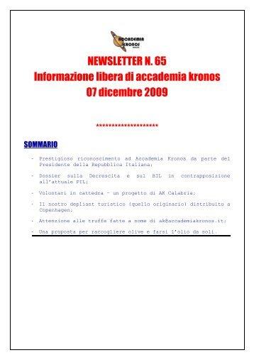 NEWSLETTER N. 65 Informazione libera di accademia kronos 07 ...