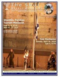 Shabbos Parshas Tazriah-Metzorah