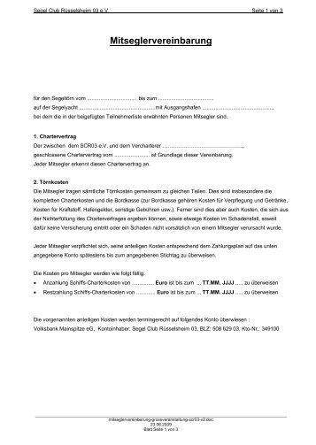 Mitseglervereinbarung - Segel Club Ruesselsheim 03 eV