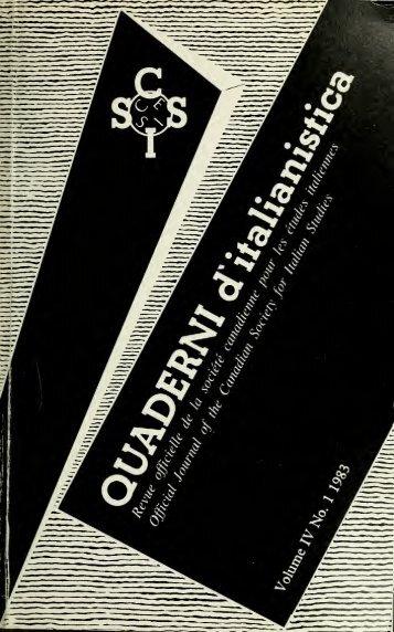 Quaderni d'italianistica - University of Toronto Libraries