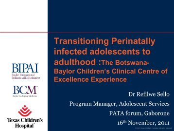 Refilwe Sello transitioning adolescents at Botswana ... - Team PATA