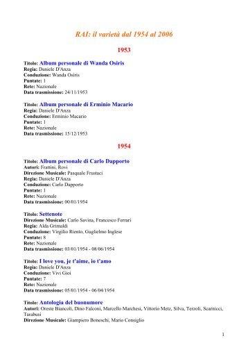 RAI: il varietà dal 1954 al 2006 - Rai Teche