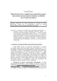 principi ambientali e disciplina degli ogm nell'unione europea