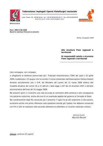 Sentenza pronunciata dal TAR del Lazio che ha accolto ... - Fiom - Cgil