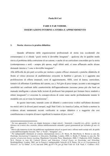 Fare e far vedere - Società Italiana per lo Studio della Storia ...