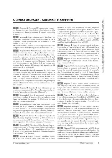 CULTURA GENERALE – SOLUZIONI E COMMENTI