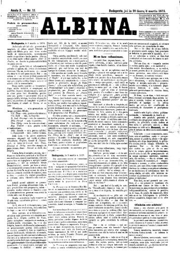Anulu X. — Nr. 11. Budapesta, joi in 20 fauru/4 martiu 1875. Ni se ...