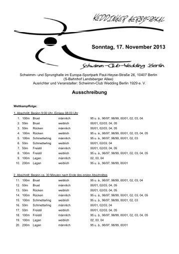 Sonntag, 17. November 2013 - Schwimm-Club Wedding 1929 e.V.