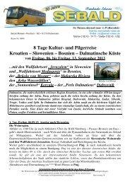 8 Tage Kultur- und Pilgerreise Kroatien – Slowenien - Sebald-Reisen