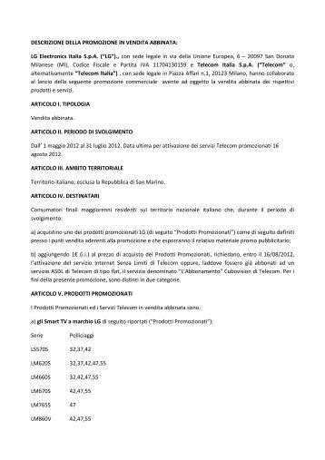 PROMOZIONE PRIMAVERA 2012 LG (2) rev del 10 ... - Telecom Italia