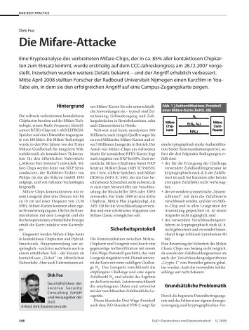 Die Mifare-Attacke - Secorvo Security Consulting GmbH