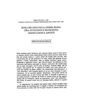 sugli dèi greci nella poesia russa (tra ottocento e ... - Europa Orientalis
