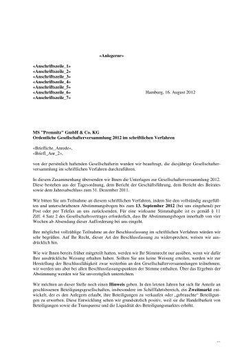 """MS """"Premnitz"""" GmbH & Co.KG - Hamburgische Seehandlung"""