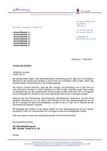 Verkauf des Schiffes_17.04.2012 - Hamburgische Seehandlung
