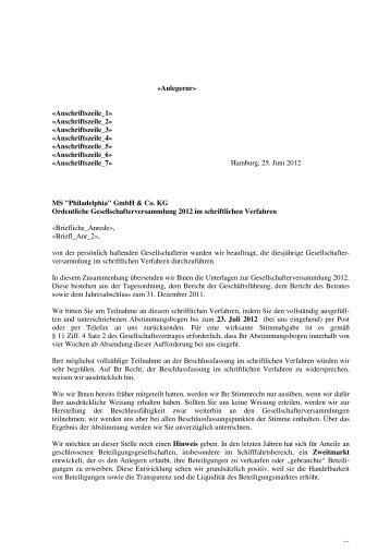 "MS ""Philadelphia"" GmbH & Co. KG - Hamburgische Seehandlung"