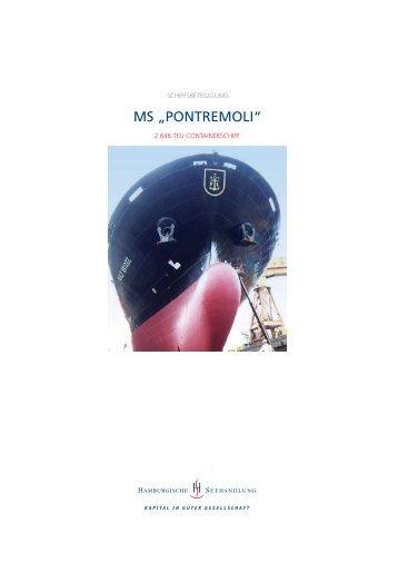 """Schiffsbeteiligung MS """"PONTREMOLI"""" - Hamburgische Seehandlung"""