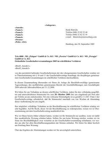 MS Pelapas GmbH & Co. KG MS Pereira GmbH & Co. KG MS ...