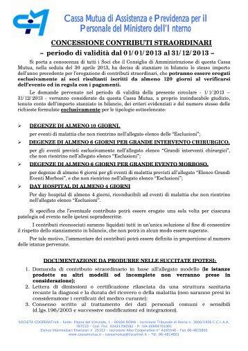 Circolare Contributi Straordinari - Cassa Mutua Ministero Interno