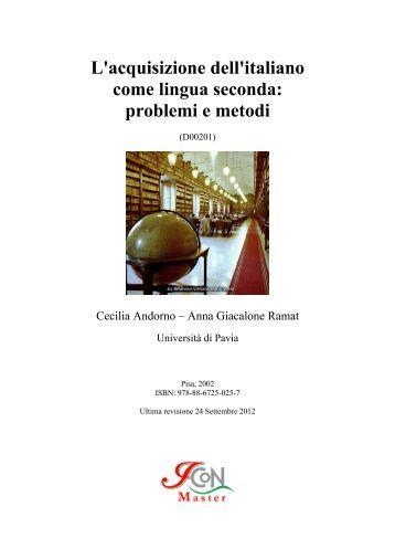 L'acquisizione dell'italiano come lingua seconda - Master in ...